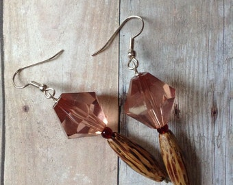Striped Wood, Red Glass & Pink Acrylic Beaded Earrings