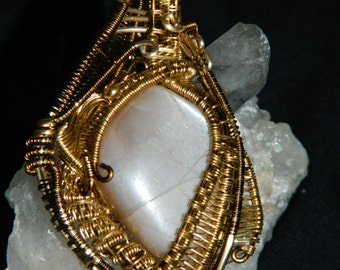 Champagne Moonstone pendant wire wrapped in Brass