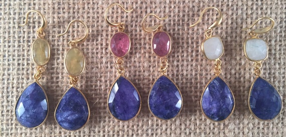 """Sapphire Earrings with Pink Tourmaline, Yellow Tourmaline and Moonstone,Hook Wire, Gold Vermeil, 2"""" total length"""