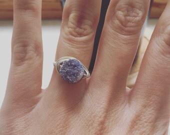 Size 6.75 Violet-Gray Druzy ring