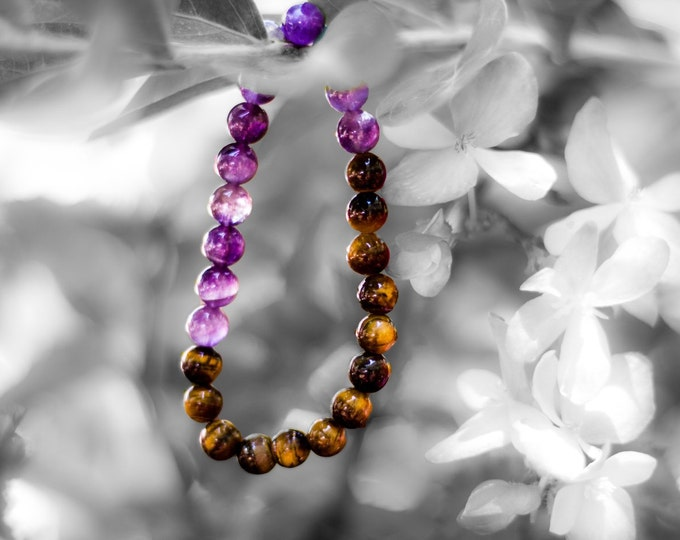 8mm Amethyst & Tigers Eye Bracelet Healing Crystal Natural Stone Healing Jewelry Positive energy
