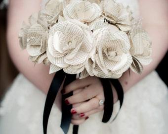 Handmade Book Paper Rose Bridal Bouquet - Wedding