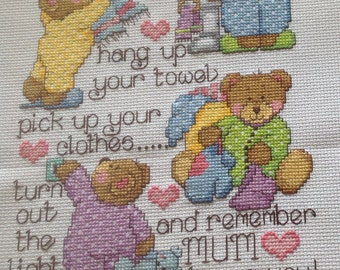 Completed cross stitch picture 'Mum Loves You!' Can personalise