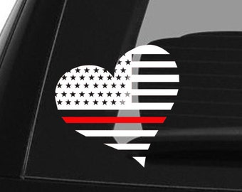 Thin Red Line Decal Firefighter Car Decal Yeti Decal Back The