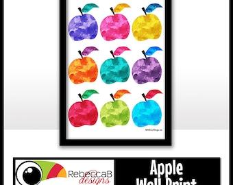Apple Wall Print, Watercolor Apple Printable, Fruit Print, Printable Wall Art, Watercolor Printable Poster, Apple Art