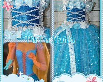 Handmade Girls Blue Princess FairytaleTutu Dress