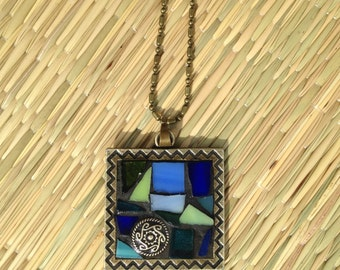 Turquoise Blue Green Stained Glass Pendant Necklace/Boho Necklace/Bohemian Jewelry