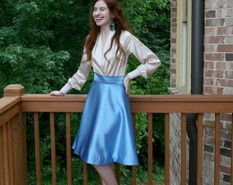 Summer Vintage-Inspired Blue Knee-Length Skirt