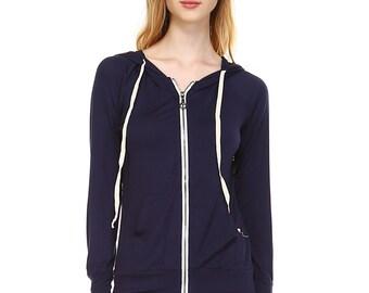 Solid Zipper Hoodie Jacket