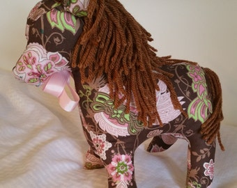 Paisley Horse, Brown Yarn Haired, With Pink Satin Ribbon Stuffed Animals, Plushie