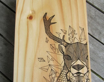 Geo Deer Print on Wood