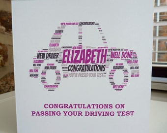 Personalised New Driver Card, Congratulations on Passing your Driving Test Card, Driving TestCard