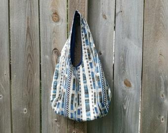 Shorthandled Handbag - Cream/Blue