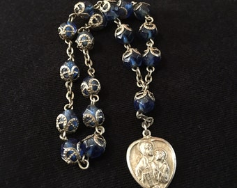 Vintage chaplet beads of St. Anne, blue beads, Guardian Angel