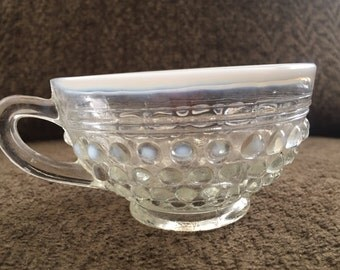 Vintage Anchor Hocking Moonstone tea cup, coffee cup, hobnail cup, hob nail cup