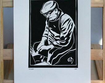 Sheffield Grinder, Steel Worker Hand Printed Linocut Print, Hand Made, Sheffield, Industry, Steel, History