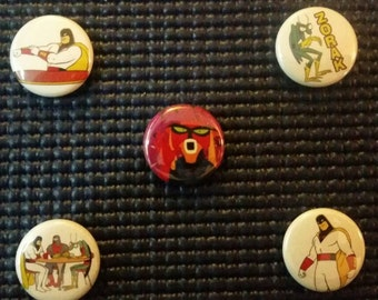 "Space Ghost Coast To Coast/Cartoon Planet / Brak 1"" Pinback Buttons! Adult Swim! 90's!"