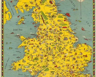 Pictorial Map of England and Wales