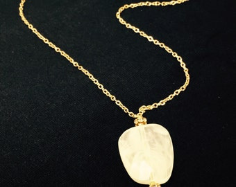 Cream and Gold Long Statement Necklace
