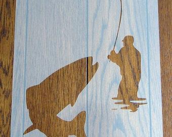Gone Fishing Stencil Reusable Mylar Sheet for Arts & Crafts, DIY
