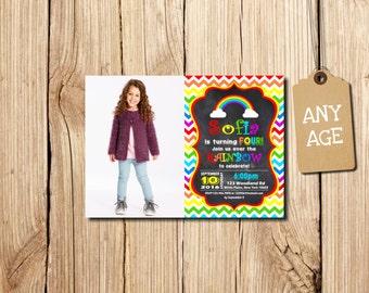 Rainbow Birthday Invitation, Rainbow Invitation, Rainbow Party, 4th birthday, Chevron Birthday Invitation, Chevron Rainbow, with photo
