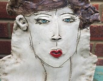 Handmade contempory stoneware study of a womans head