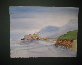 16x20 Watercolor Coastline, Original, matted, included, optional