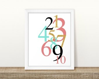 Numbers 1-10 Kids Decor in Coral, Mint, and Gold Printable, Digital Printable