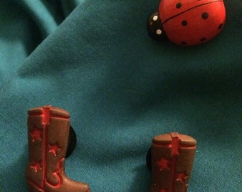Cute Brown & Red COWBOY Boots Clog Shoe Charms