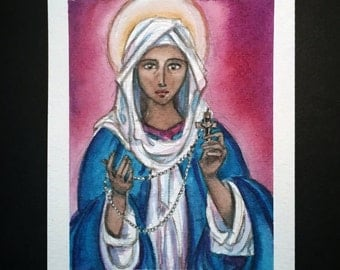 "Our Lady of the Rosary Icon, Original 5x4"" Watercolor Painting"