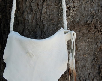 Terlingua Bag White Deerskin Leather with Feathers Western Southwest