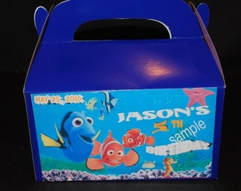 Qty 4 Favor Boxes, Finding Nemo Party Personalized Goody Favor Candy Box