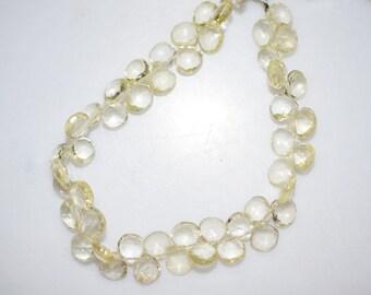 Natural Lemon Quartz Heart Shape Faceted Beads -Lemon Quartz Heart Shape Briolette , 7x7-8x8 mm ,  BL672