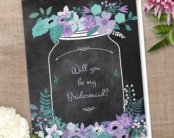 Printable Chalkboard Mason Jar Floral Will You Be My Bridesmaid Thank You Greeting Card, Purple, Aqua & Green; Editable PDF Instant Download