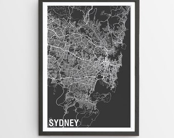 Sydney City Map Print - Various Colours / Australia / City Print / Australian Maps / Father's Day / Giclee Print / Poster