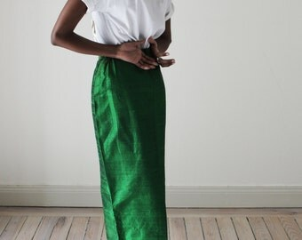 Vintage Maxi Skirt Wild Silk Emerald Green