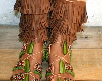 "Gladiator sandals/ boho sandals/ Handmade Leather Sandals/ ethnic sandals/ Fringed sandals/ Boho Flats/ Tie up Sandals ""MEXICO"""