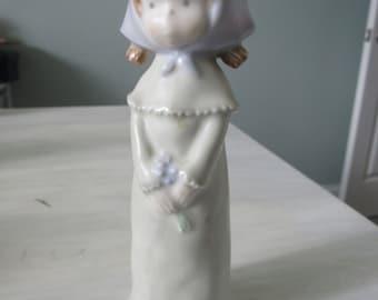 Vintage 1988 Enesco  Kinka Figurine Girl with Pigtails Holding Flowers #117501  259
