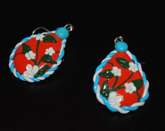 Flower Applique Teardrop Earrings