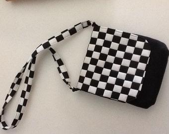 Checkered messenger purse