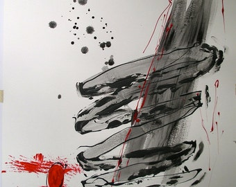 """Asian Zen Original Art Painting. Black and White and Red. 18x24"""". Metal Frame. Simplify. Minimalist. In the Now Mindfulness painting art."""