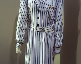Schrader Sport Long Sleeve navy blue and white striped dress