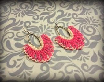 Pink and white Hoops | Looped Fringes | Fringed Hoop earrings | Seed bead Earrings | For her | Nickel Free
