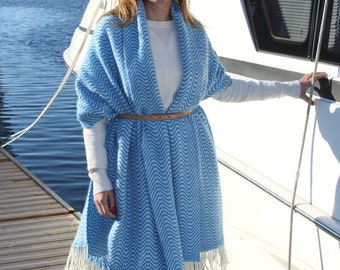 Handwoven Scarf  From Alpaca Merino Wool Blend  Large Shawl Wrap Cape