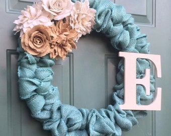 Burlap Wreath with Burlap Flowers and Initial
