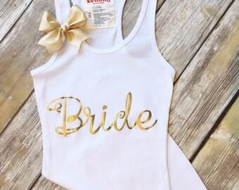 Metallic GOLD Tank Top  print with Bow!  Bachelorette Future Mrs Shirt Bachelorette Party Tank.