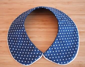 Reversible blue Peter Pan collar - Detachable round polka dot collar