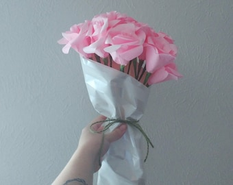 One Dozen Pink Roses, Long-stemmed Roses, Paper Flowers with stems, Pale Pink Flowers, First Anniversary Gift, Romantic gift, Pink Bouquet
