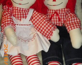 23 Inch   Handmade  Raggedy Ann & Andy Dolls