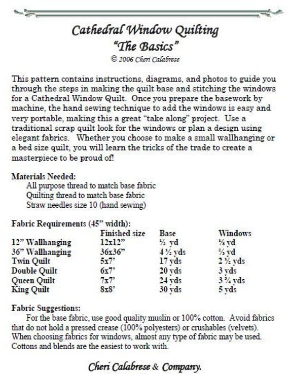 cathedral quilt pattern instructions